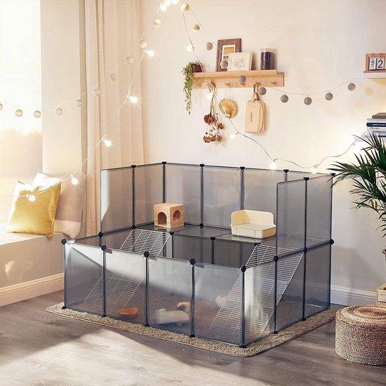 SONGMICS Huisdierenkooi, hok voor kleine dieren, 2 verdiepingen, grijs LPC004G01