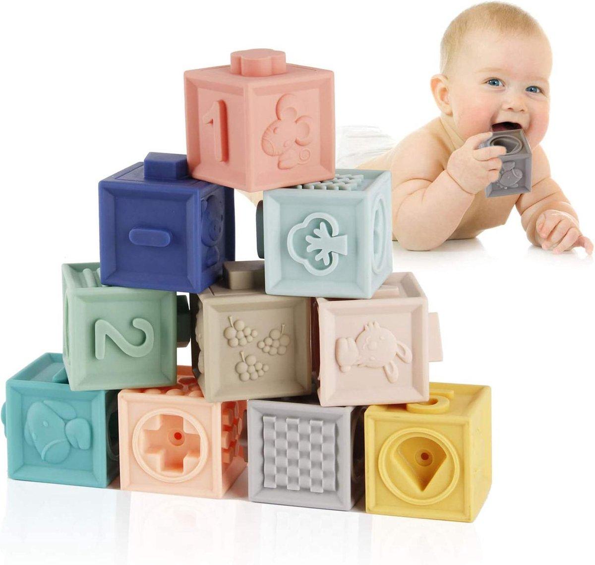 Baby Blokken | Baby Speelgoed | Zacht | 12 Stuks | BPA Vrije Siliconen