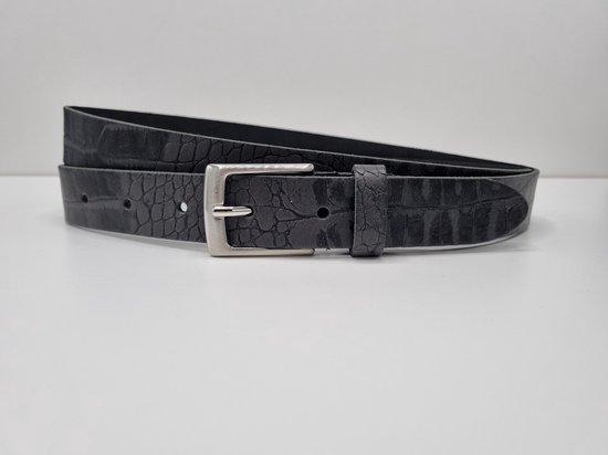 Lederen riem 3 cm breed – Zilver gesp – Leren Broekriem – Pantalon breedte – 110 cm leer Croco print – kleur Grijs