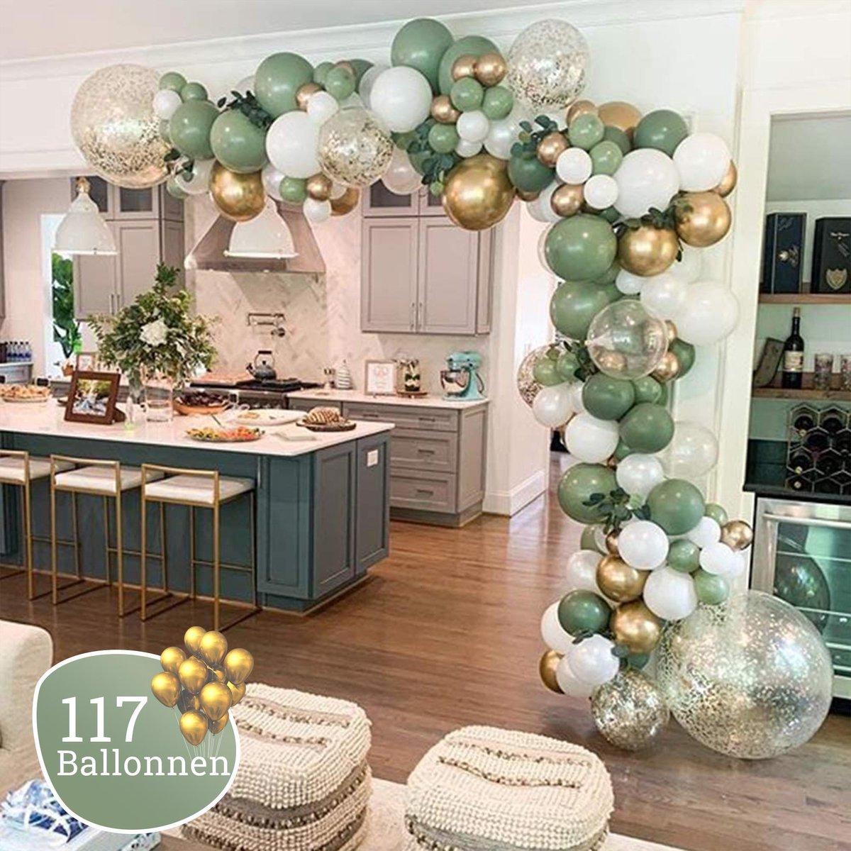 Ballonnenboog Olijfgroen - Diy - Blush - Incl. Pomp en Ophanghaakjes - 117 Ballonnen - Verjaardag -