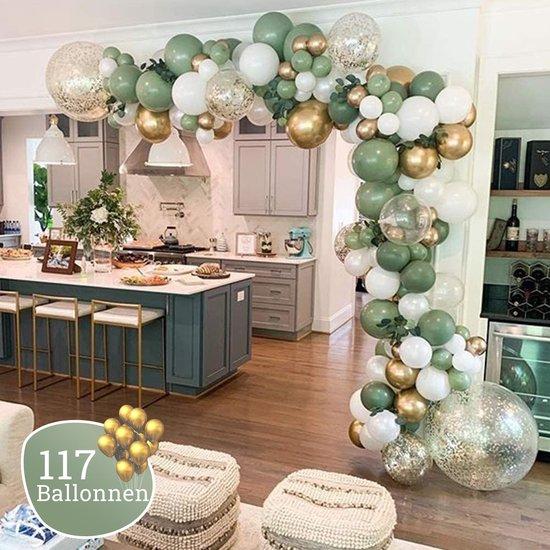 Ballonnenboog Olijfgroen - Diy - Blush - Incl. Pomp en Ophanghaakjes - 117 Ballonnen - Verjaardag - Kant en Klaar Pakket - Versiering - Feestartikel