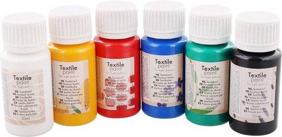 Afbeelding van Textielverfset / Textielverf / Complete kit van 6 kleuren speelgoed