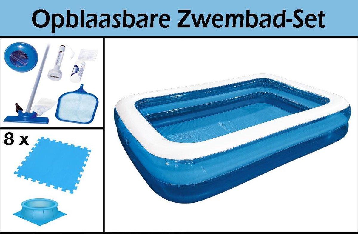 Opblaasbare Zwembad-Set | 262x175x50cm | Inclusief GRATIS Zwembadtegels & Schoonmaakkit | Ruim Opblaaszwembad