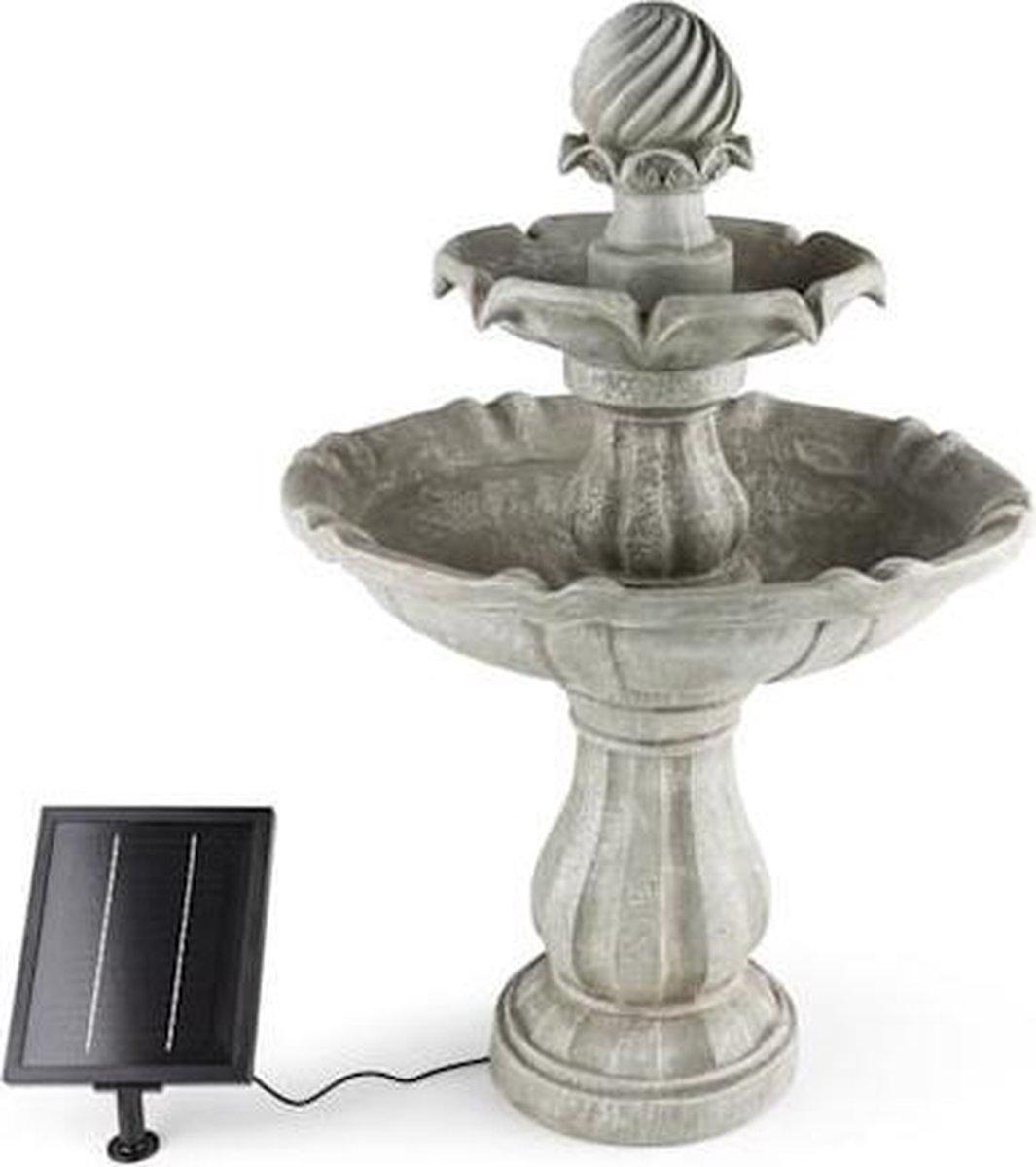 Blumfeldt Vogelsbrunn Solar fontein - pomp 250l/h - 3 W zonnepaneel - 5m kabel - polyresin - tuin decoratie - barokstijl