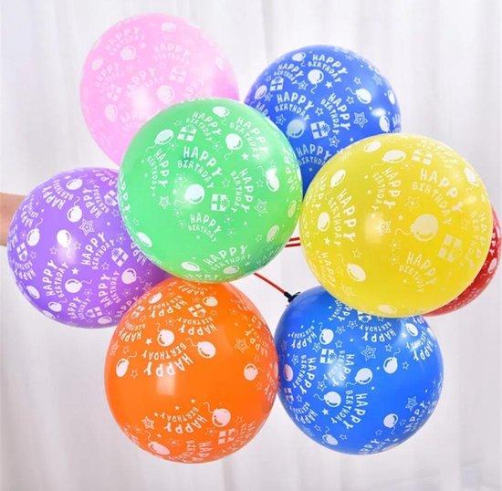 """LOHECO® Ballonnen - 15 stuks Latex Ballonnen met Opdruk """"Happy Birthday"""" - Vrolijke kleuren -Gratis Ballonnen Slinger - Verjaardag - Feesten en Partijen"""