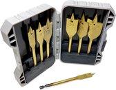 7X Titanium korte Speedboor / houtboor vlinderboor 125mm set 10 t/m 32mm boren 7 delig in koffertje