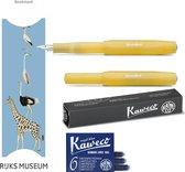 Kaweco Vulpen Sport Frosted SWEET BANANA (EXTRA FINE) met doosje vullingen en  boekenlegger