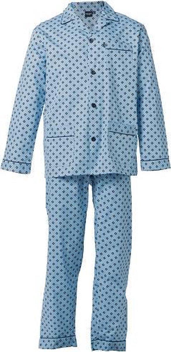 Gentlemen heren pyjama doorknoop   MAAT 54   Dubbel ruit   blue   Poplin 100% katoen