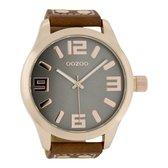 OOZOO Timepieces Polshorloge - C1106 - Cognac/Grijs - 51 mm