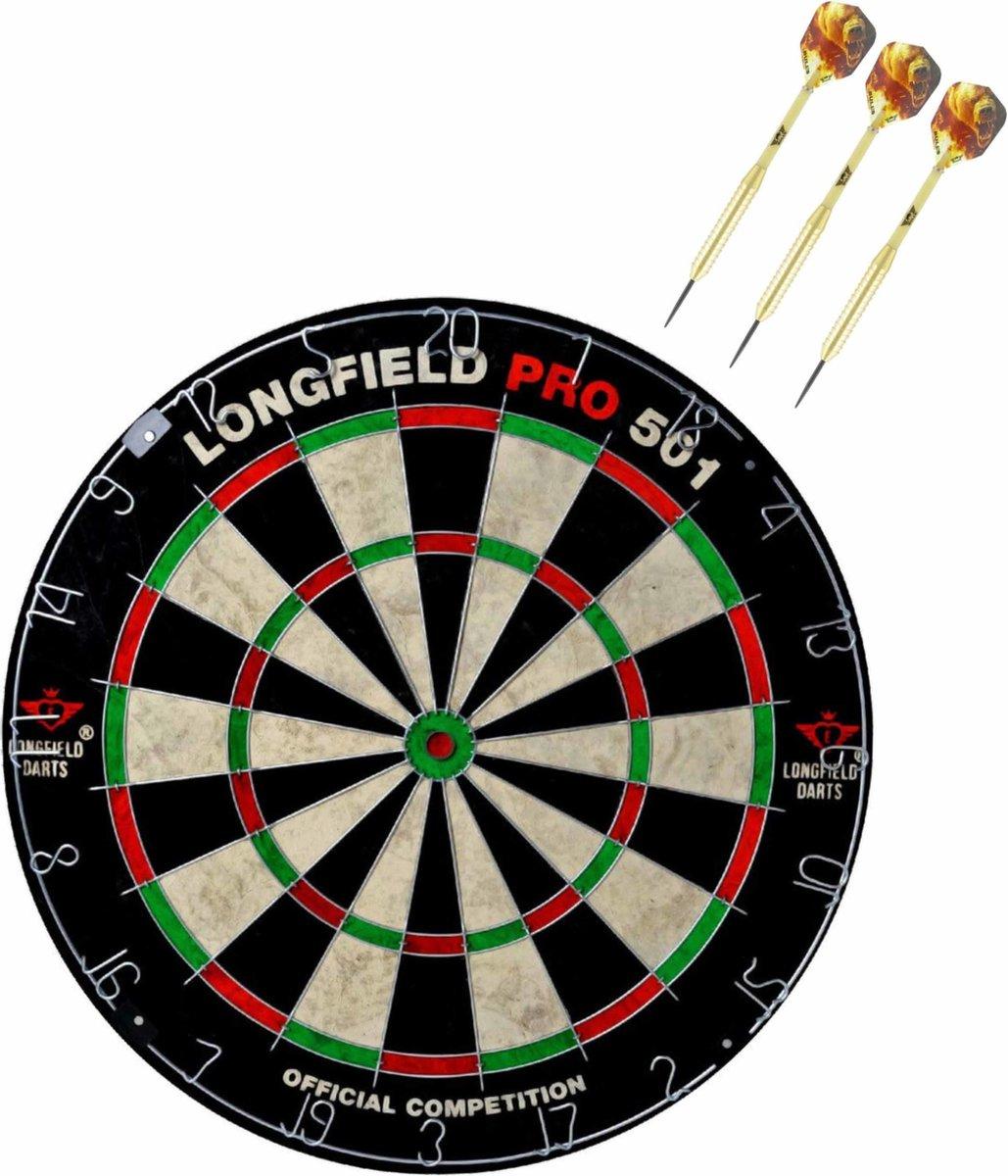 Dartbord set compleet van diameter 45.5 cm met 3x Bulls dartpijlen van 21 gram - Professioneel darten pakket