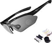 Falkann Basics fietsbril / sportbril set zwart 5 glazen inc. gepolariseerde