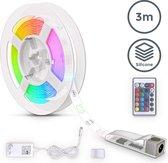 B.K.Licht - LED Strip - 3 meter - siliconencoating - RGB kleurverandering - incl. afstandsbediening - zelfklevend