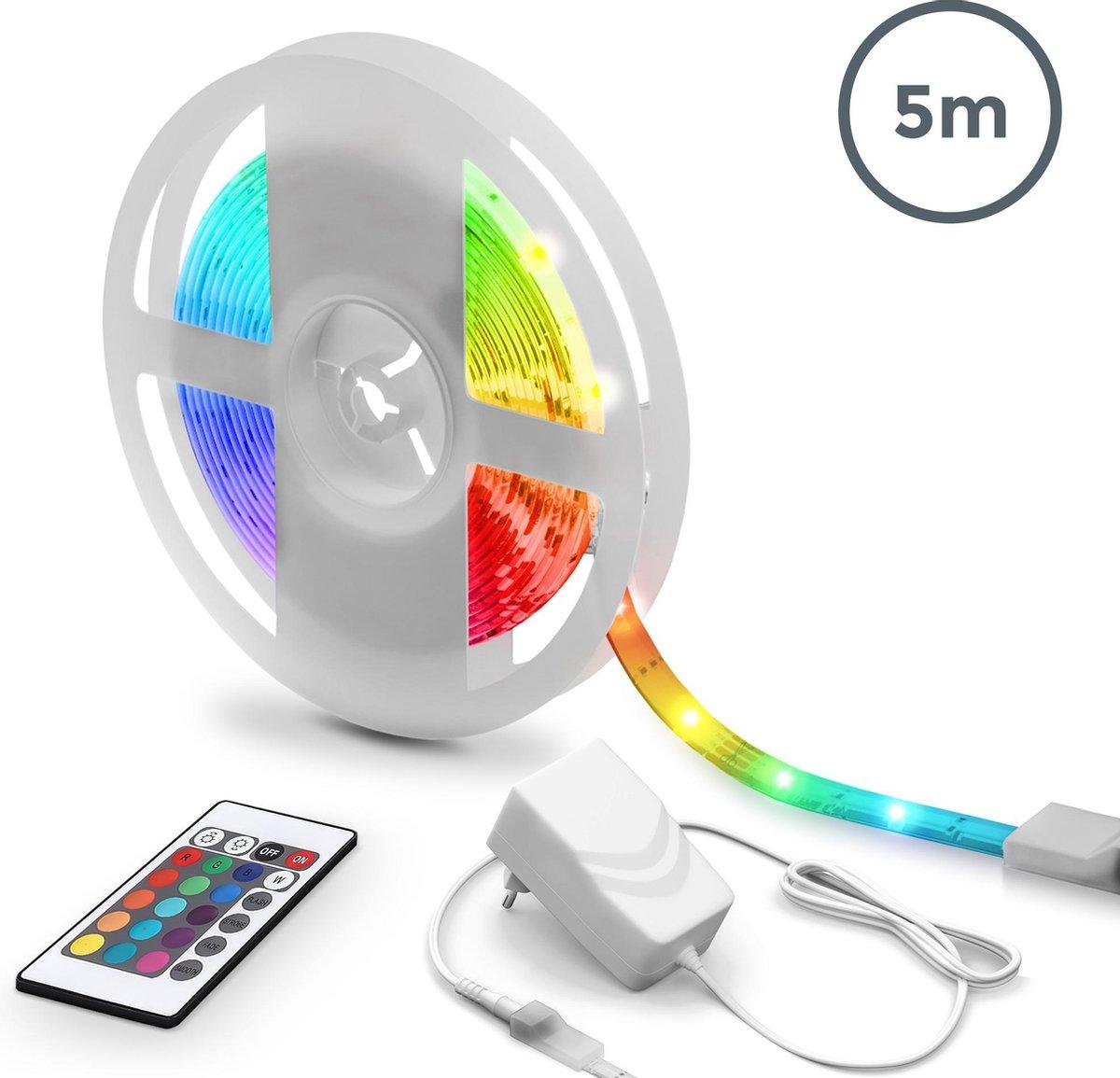 B.K.Licht - 5 meter LED Strip met IR-afstandsbediening - RGB kleurverandering en dimbaar - Lightstrip zelfklevend