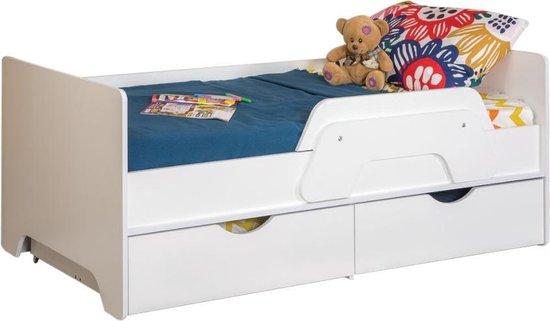 Una Peuterbed inclusief 2 lades op wiel & valbeugel 80x160 cm kinderbed - junior bed