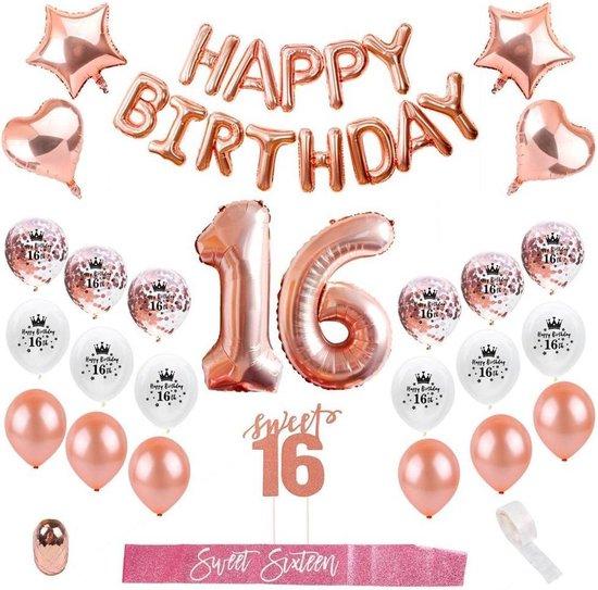 Sweet 16 verjaardag  | Sweet 16 Versiering| 16 jaar | 16 jaar ballonnen|Rose Goud | Verjaardag decoratie