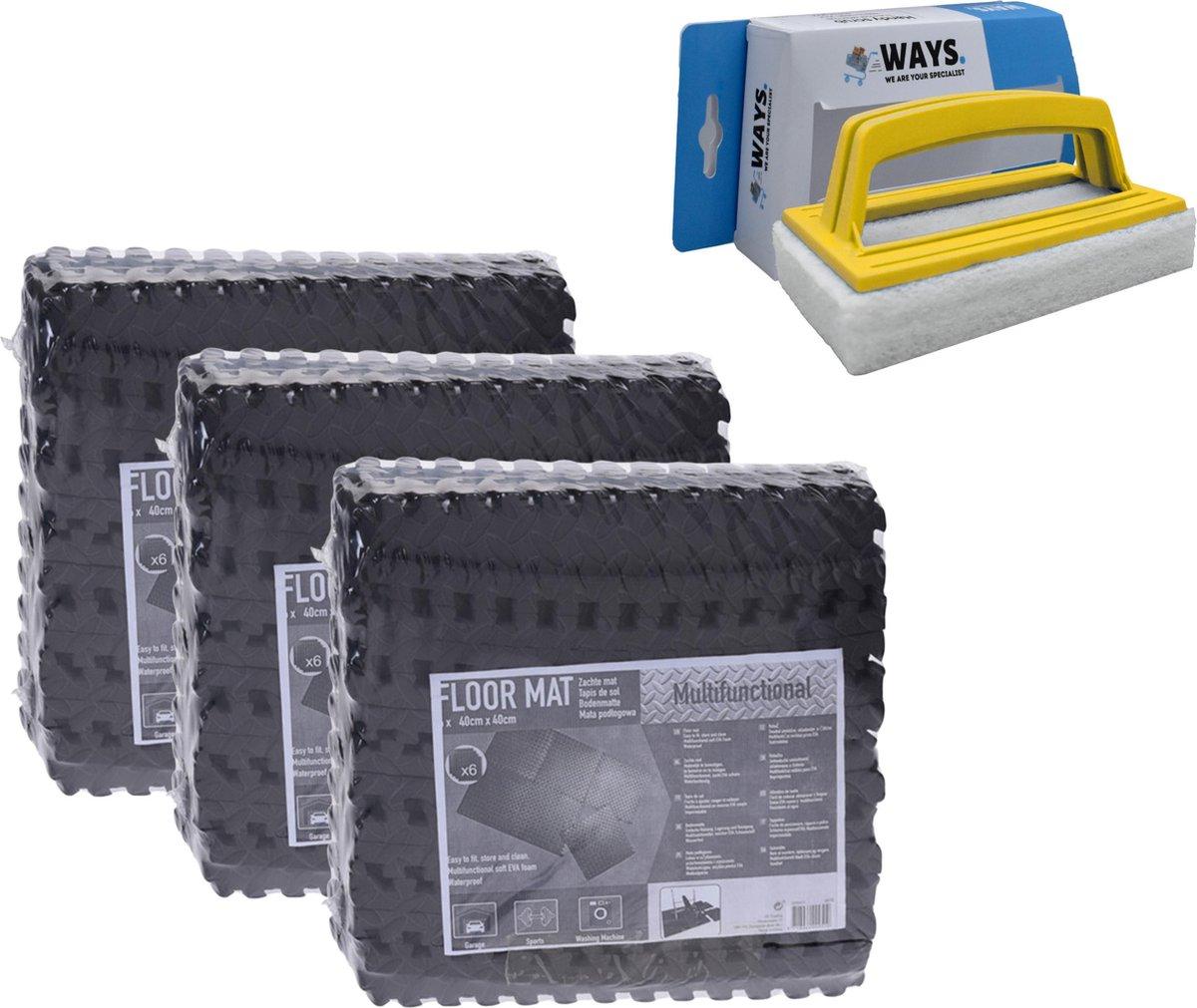 Zwembadtegels - Voordeelverpakking - 3 verpakkingen van 6 tegels - 40x40 cm & WAYS scrubborstel