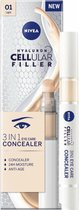 NIVEA Hyaluron Cellular Filler 3-in-1 verzorgende make-up #01 Licht, hydraterende Oog Consealer met hyaluron, gezichtsmake-up