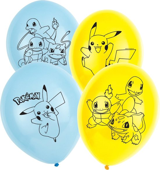 AMSCAN - 6 latex Pokemon ballonnen - Decoratie > Ballonnen