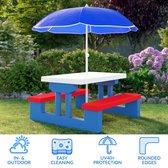 Deuba - Kinder Picknicktafel met parasol - Blauw