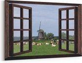 Schilderij - 150x100cm -Doorkijk naar weiland met koeien en een molen - Canvas schilderijen voor in de woonkamer van de natuur met dieren