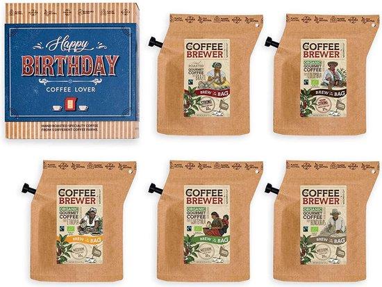 Verjaardag Koffie Cadeaus Voor Mannen & Vrouwen - 5 Unieke Koffiezakjes Set Met Premium Gemalen Koffie Uit De Hele Wereld Voor Koffieliefhebbers | Brievenbusgeschenk in Mandstijl