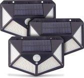 SARGON Solar Buitenlamp met Bewegingssensor - 100 LEDs - Wit Licht -Tuinverlichting op Zonneenergie - IP65 Waterdicht - Voor Tuin/Wand/Oprit - 3 Stuks