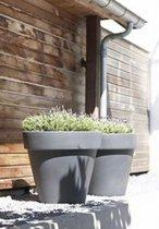 Bloempot buiten kunststof | rond | grijs | doorsnee 60 cm hoogte 52 cm