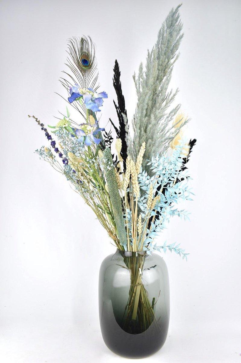 Droogbloemen - boeket 80 cm - Stijlvol Blauw - Natuurlijk Bloemen