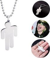 Case4You Billie Eilish Ketting - 50 cm - Necklace - Happier Than Ever - Merch - Hoodie - Oorbellen - Stickers - Muts - Silver