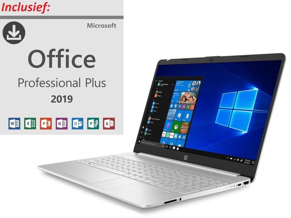 HP 15 inch Laptop - AMD Ryzen 5 - Zilver - 8GB RAM - 512GB SSD - Windows 10 - incl. Office Professional! (verloopt niet, geen abonnement)