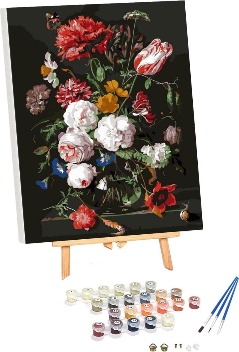 Riefco - Schilderen op nummer bloemen in vaas 40x50CM inclusief schoonmaakdoekje