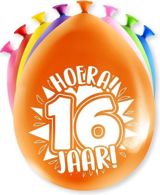 Ballonnen 16 Jaar Hoera 30cm 8st