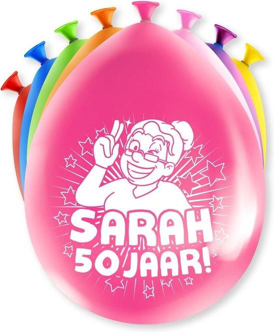 Sarah Ballonnen 50 Jaar 30cm 8st