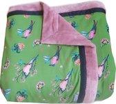 Extra grote handgemaakte woondeken of plaid vogelprint groen roze 215 x 145 cm