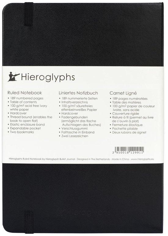 Hieroglyphs Notitieboek A5 Hardcover - 189 Genummerde Pagina's - 100 Grams Papier - Elastieken Sluiting, 2 Bladwijzers, Opbergvak -  Notebook Journal - Gelinieerd - Zwart
