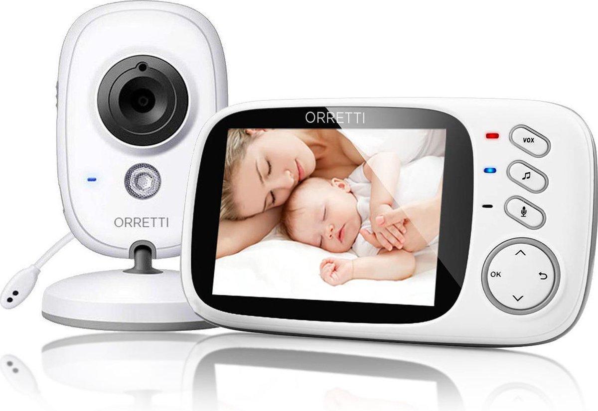 Orretti® V8 Babyfoon met camera - EXTRA batterij inbegrepen -  Nederlandse Handleiding - Groot LCD s