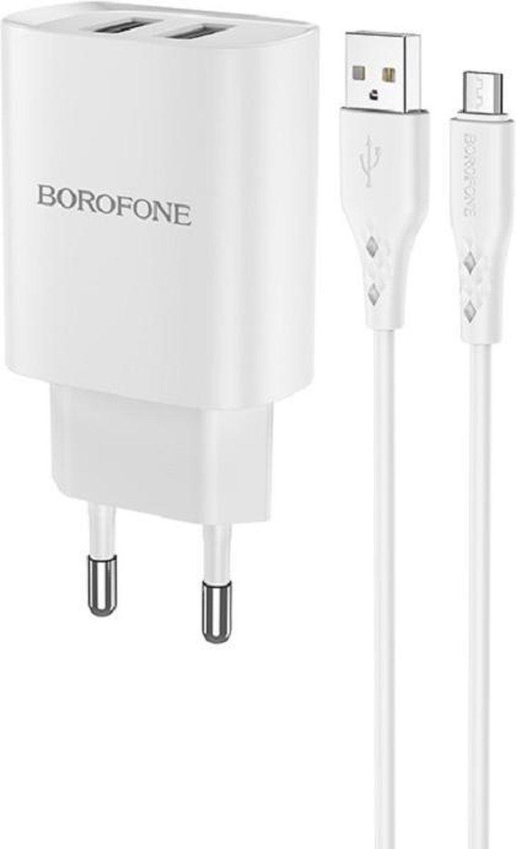 HOCO BN2 Super Fast - Universele 2-Poort USB Oplader + Micro-USB Kabel - 5V/2.1A 10W - Voor iPhone en Android Smartphones - Wit