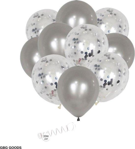GBG 20 stuks Zilver Ballonnen met Lint – Decoratie – Feestversiering - Papieren Confetti – Silver - Silver Latex - Verjaardag - Bruiloft - Feest