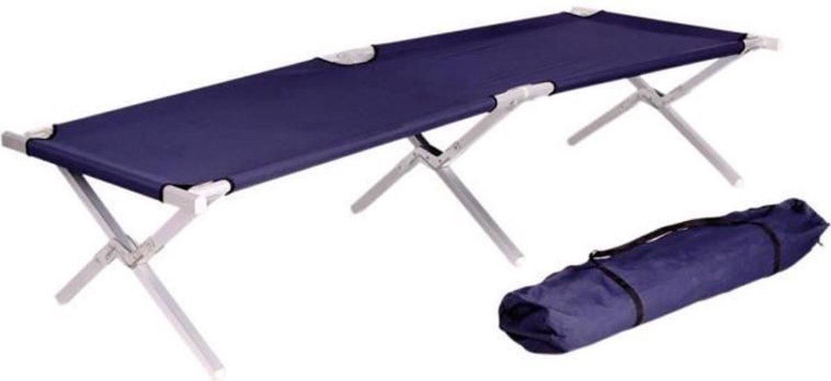 Veldbed XL 190 x 62 cm - aluminium campingbed / stretcher / kampeerbed - blauw