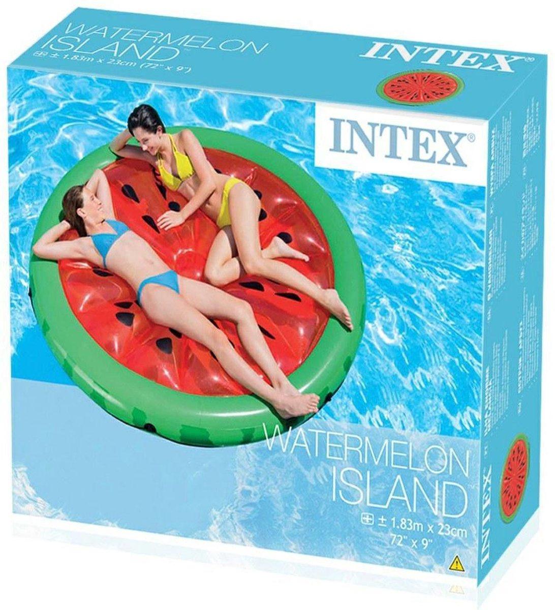 """Groot opblaasbaar luchtbed """"watermeloen"""" in rood/ groen 183 cm rond voor in het zwembad (Intex)"""