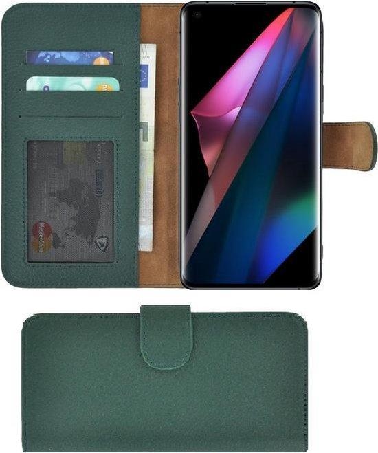 Oppo Find X3 Hoesje - Oppo Find X3 Pro Hoesje - Bookcase - Oppo Find X3/ Oppo Find X3 Pro Wallet Book Case Echt Leer Groen Cover