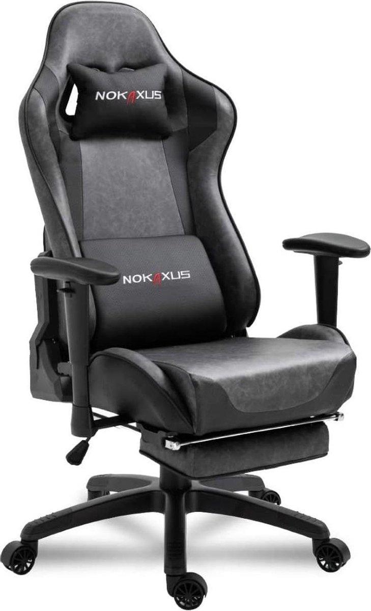 Gutos Gamingstoel | Gamingstoelen | Gamestoel | Bureaustoel | Gamestoelen | Met voetsteun | Met kussen | Zwart | Bureaustoel | Ergonomisch