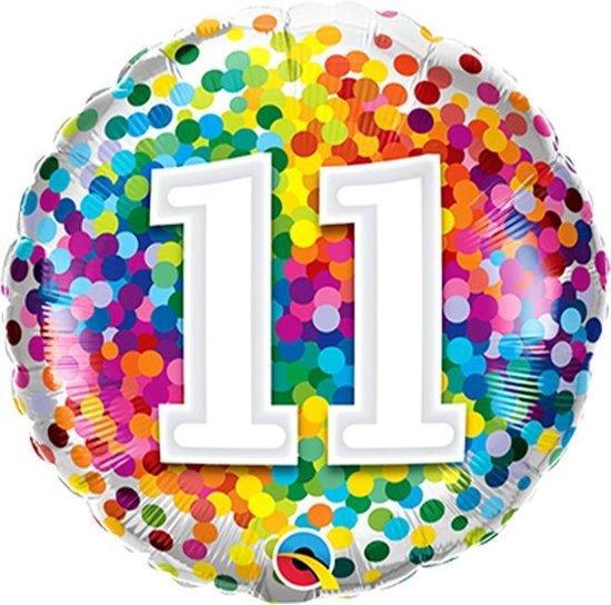 Folieballon Confettiprint Leeftijd 11 - 45 cm
