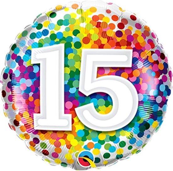 Folieballon Confettiprint Leeftijd 15 - 45 cm