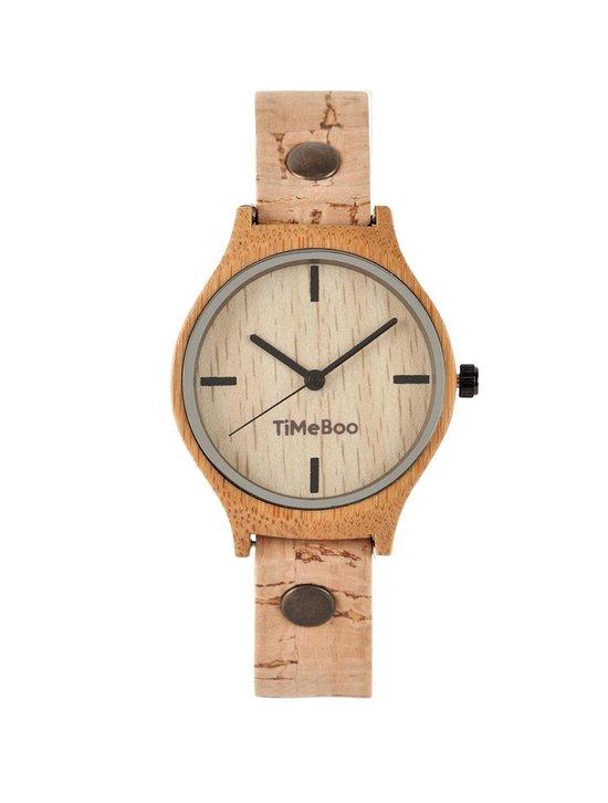 Dames horloge bamboe hout I VEGAN single naturel licht kurken band I TiMEBOO ®