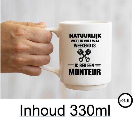 Bedrukte Beker -Mok - Auto - Monteur - Werkvloer - Kantine - Verjaardag - Collega  - Vaderdag - Quote - Spreuken - Tekst  Geschenk - Cadeau