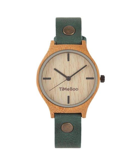 Dames horloge bamboe hout I Twist single forest green leren band I TiMEBOO ®