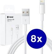 8 stuks - iPhone Oplaad Kabel Lightning - 1 meter - 12 / 12 PRO / 12 PRO MAX / 11/ 11 PRO (MAX) / XS / XR/ X / iPhone 8 / 8 Plus/ iPhone SE/ 6 / 5 / 5SE - premium kwaliteit - Oplaadkabel - wit