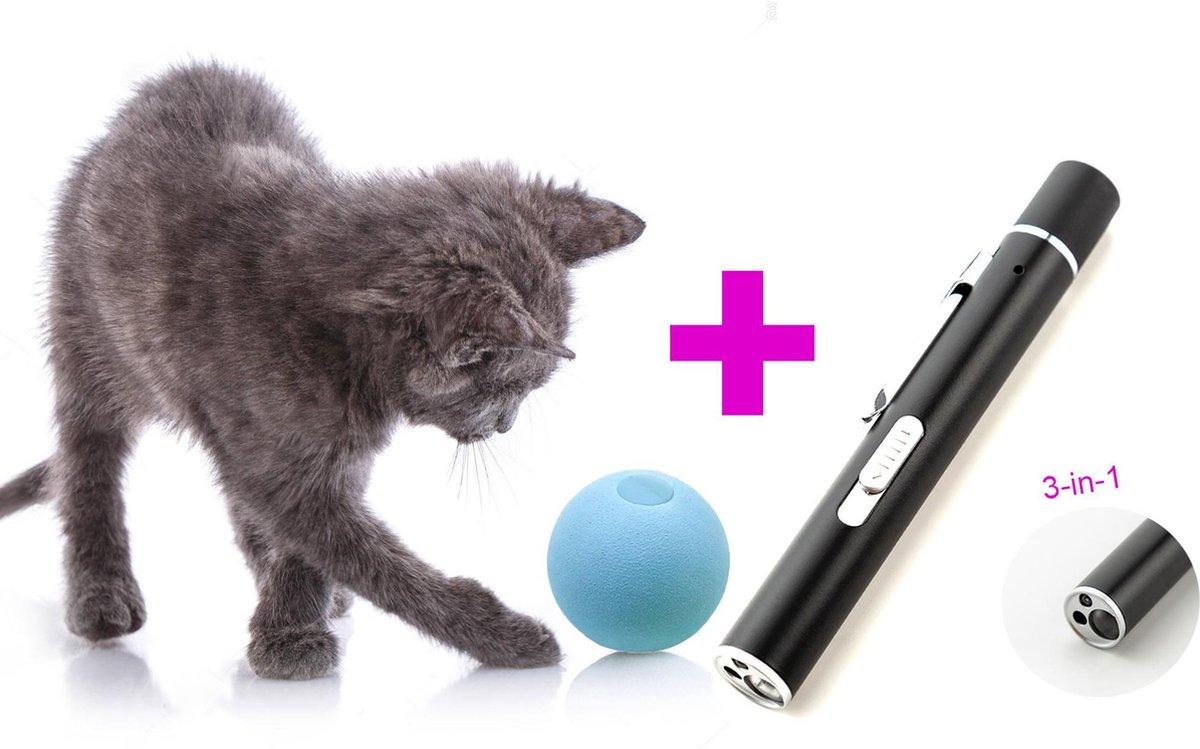 OT Stuff Favoriete Kattenspeeltjes - Kattenbal + Laserlamp - Speelgoed voor Katten - Speelgoed voor