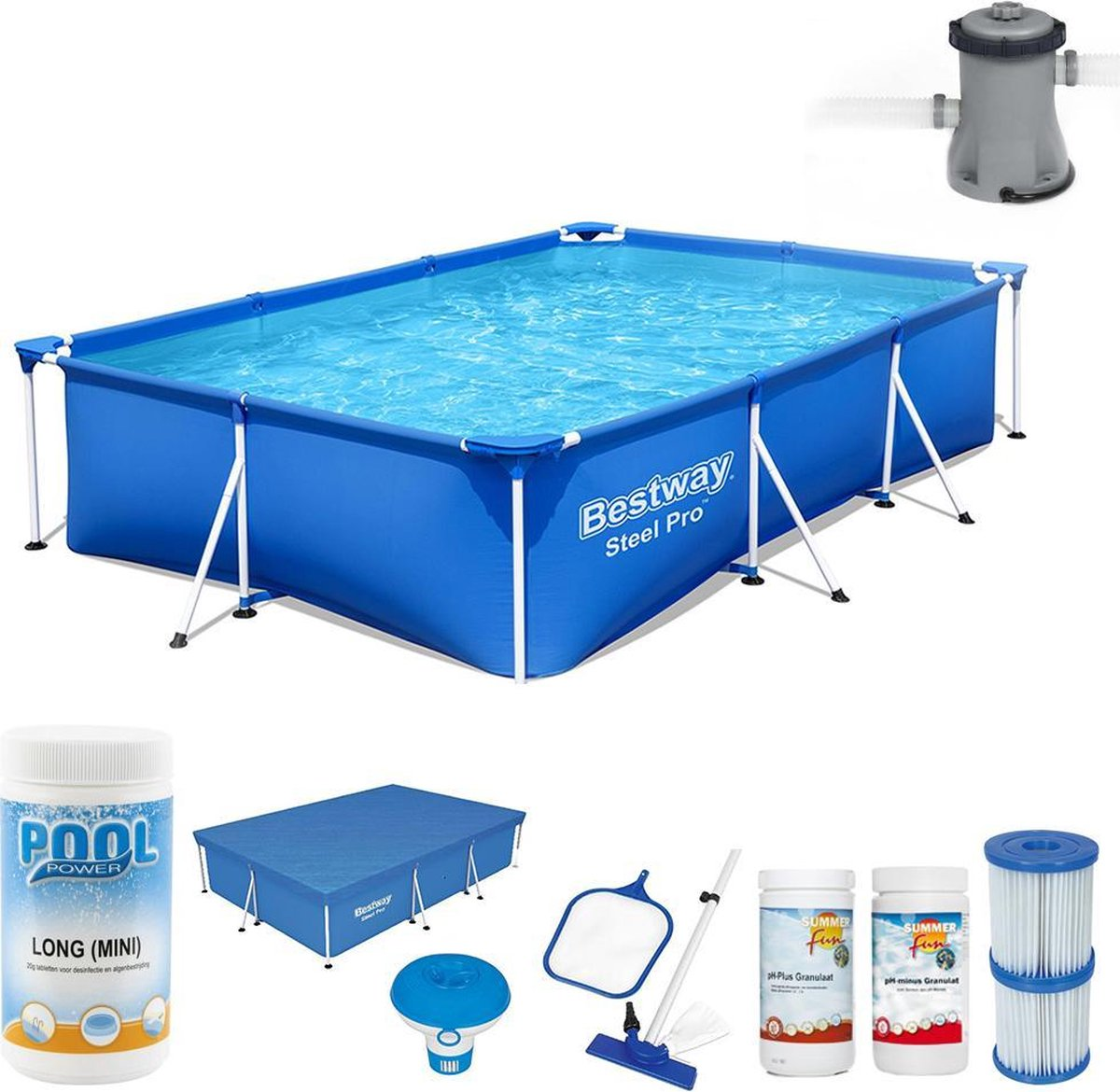 Bestway Steel Pro Rechthoekig 300x201x66cm - Zwembad met filterpomp - Afdekzeil zwembad - Chloordispenser zwembad - Zwembad stofzuiger - Schepnet zwembad - Chloortabletten - pH plus - pH min